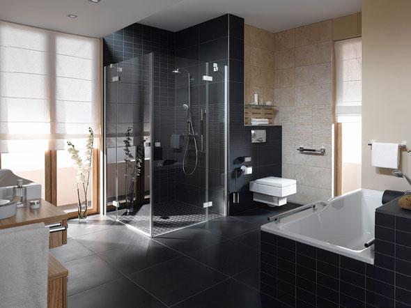 Badezimmer beige schwarz