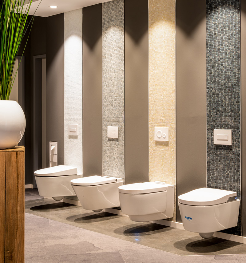 Große, klar struktuierte Auswahl an modernen Toilettenbecken in den ELEMENTS Badausstellungen