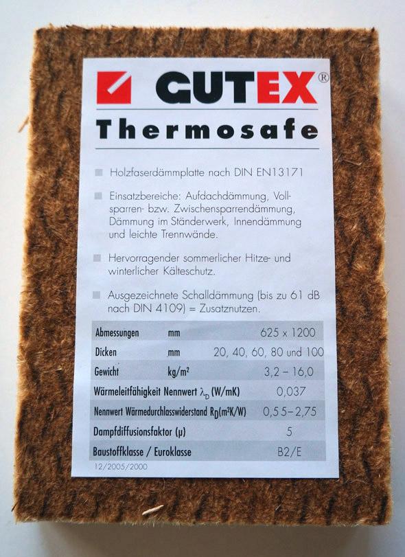Materialdaten einer Holzfaserdämmplatte