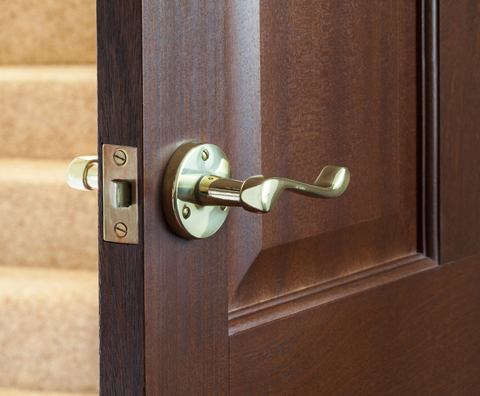 detail view of a mahogany door
