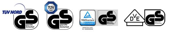 Prüfzeichen vom TÜV und VDE für GS geprüfte Sicherheit