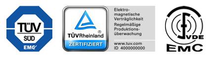 Prüfzeichen vom TÜV und VDE für die elektromagnetische Verträglichkeit