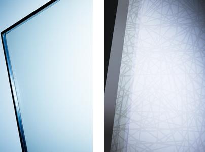 Vogelschutzglas Isolar Ornilux wie es Menschen und Vögel wahrnehmen. Der Spinnennetzeffekt
