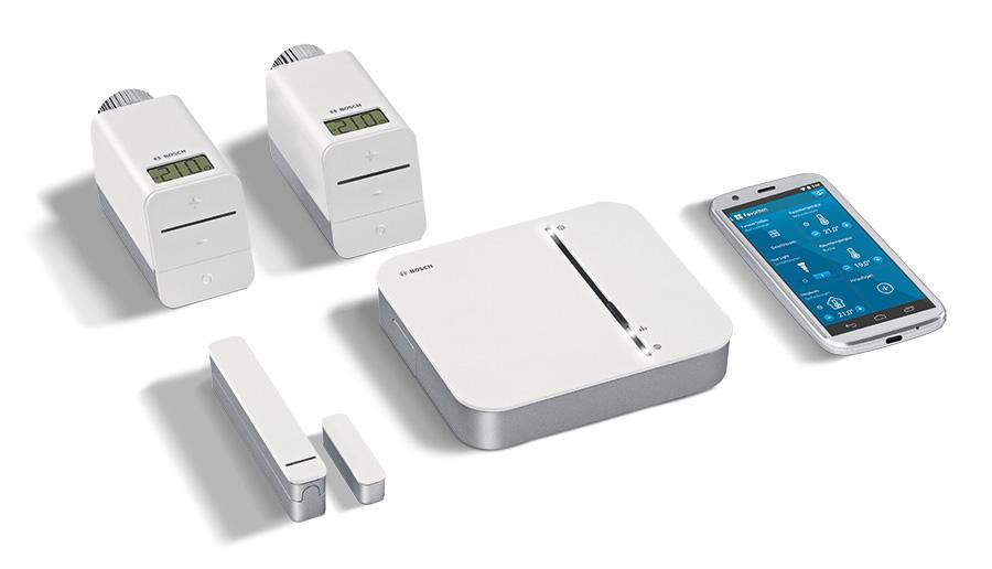 Starter-Set für die Heizungssteuerung: Heizkörper-Thermostat, Tür- und Fensterkontakt sowie Bosch Smart Home Controller inkl. App