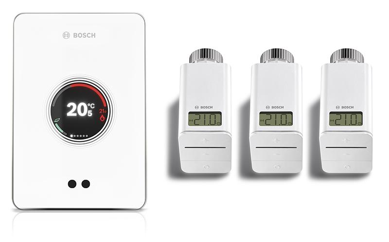 In Verbindung mit der zugehörigen App und den smarten Heizkörper-Thermostaten von Bosch kann der EasyControl die Wunschtemperatur in bis zu 20 Räumen individuell einstellen und an die aktuellen Bedürfnisse anpassen. (Quelle: Bosch)