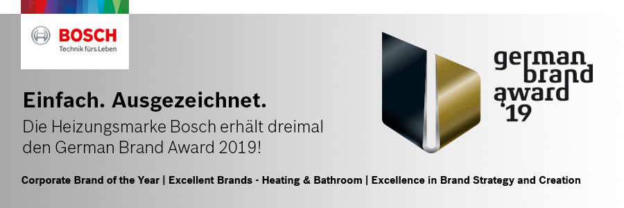 Für den erfolgreichen Markentransfer-Prozess von Junkers zu Bosch wurde das Unternehmen 2019 mehrfach mit dem German Brand Award ausgezeichnet.