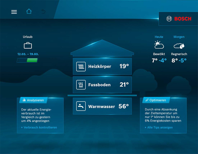 Bosch HomeCom Startscreen