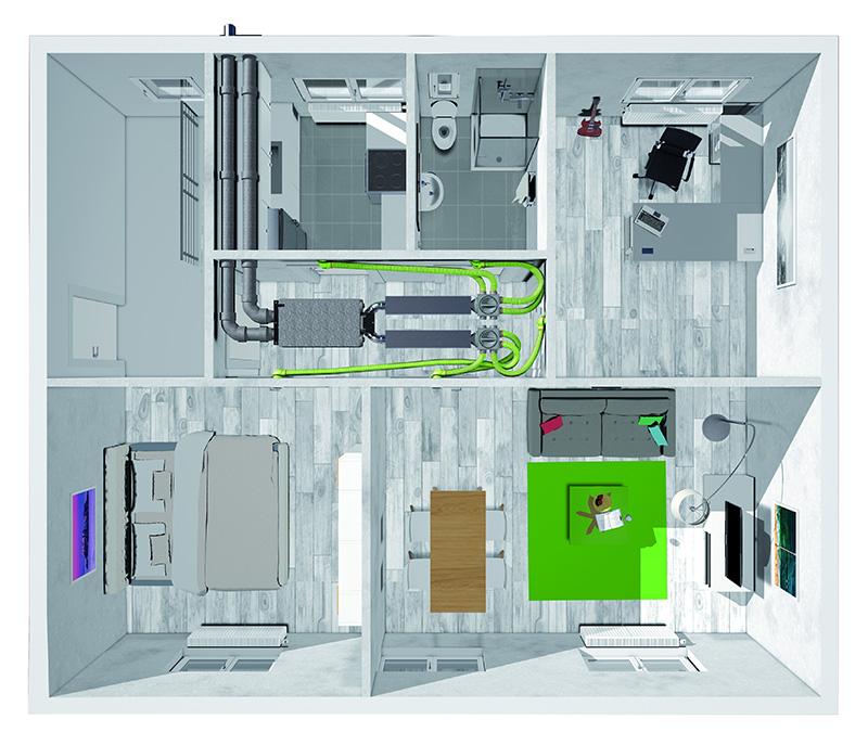 Bei Modernisierungsarbeiten verwendet der Fachmann für die Deckenmontage jeweils zwei Anschlüsse an der Ober- und Unterseite der Vent 4000 CC. So kann der Wohnraum optimal genutzt und das Gerät, beispielsweise unter der Deckenabhängung im Flur, platziert werden.