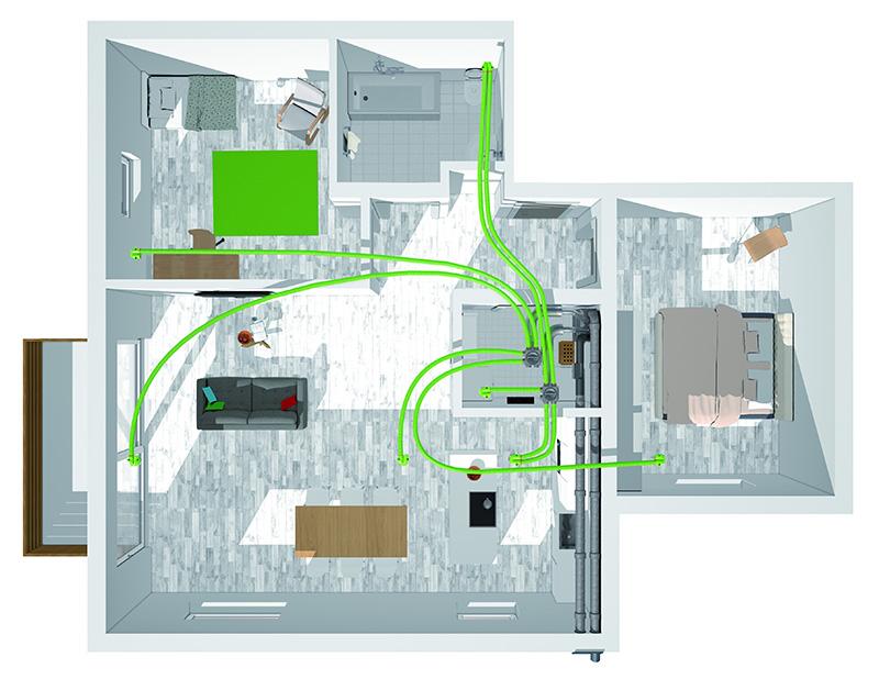 Bei der Montage an der Wand, zum Beispiel im Technikraum eines Neubaus, werden alle Lüftungskanäle der Vent 4000 CC von Bosch nach oben geführt.