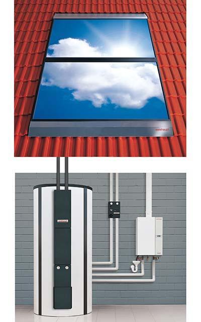 Das EEWärmeG fordert erneuerbare Wärme - zum Beispiel durch eine Kombination von Gasheizung und Solarthermie