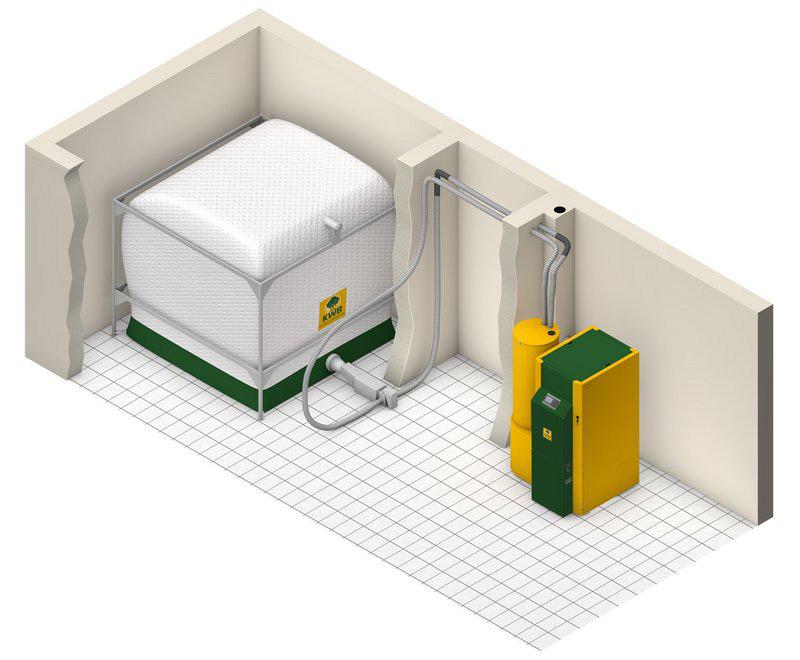 Lagerraumlösung von KWB für Pellets