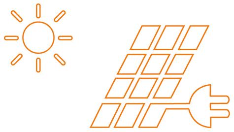 Schematische Darstellung von Strom aus Sonne und Solarmodulen
