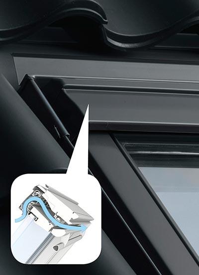 Detailansicht eines Fensterlüfters für Dachfenster von VELUX
