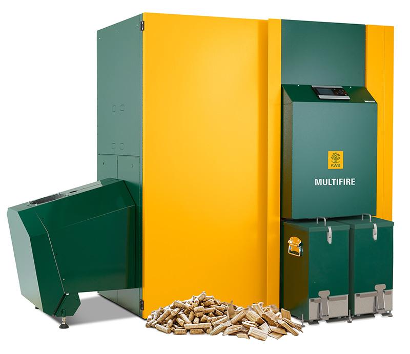 Der Multifire Heizkessel von KWB verbrennt sowohl Hackgut als auch Pellets unterschiedlichster Qualität.
