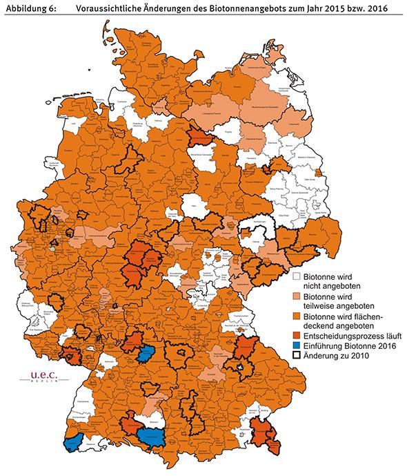 Übersicht in welchen Landkreisen in Deutschland Biotonnen angeboten werden