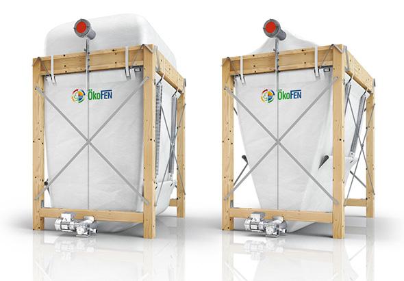 Gewebetank mit Zugfedern für 60% mehr Füllvolumen im Vergleich zu herkömmlichen Pelletlagertanks