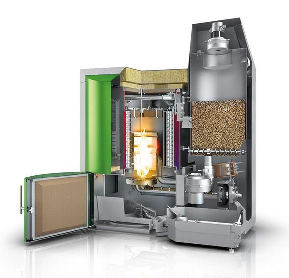 Pelletkessel mit Unterschubbrenner und Vakuumsaugsystem mit Zwischenbehälter