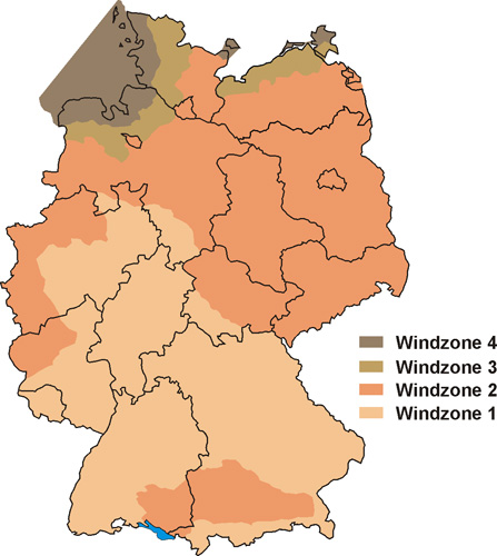 Windlastzonen in Deutschland