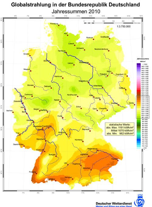 Sonneneinstrahlung in Deutschland