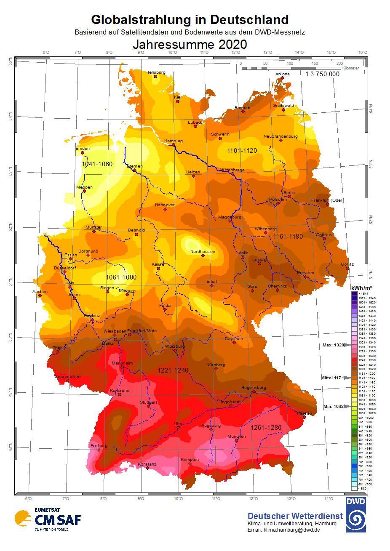 Globalstrahlung in Deutschland 2020