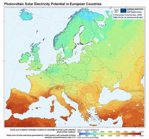 Einstrahlungskarte Europa PVGIS