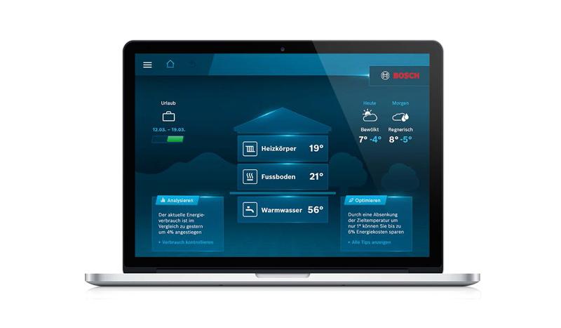 Interface von Bosch HomeCom für die Heizungs- und Solarthermie Steuerung