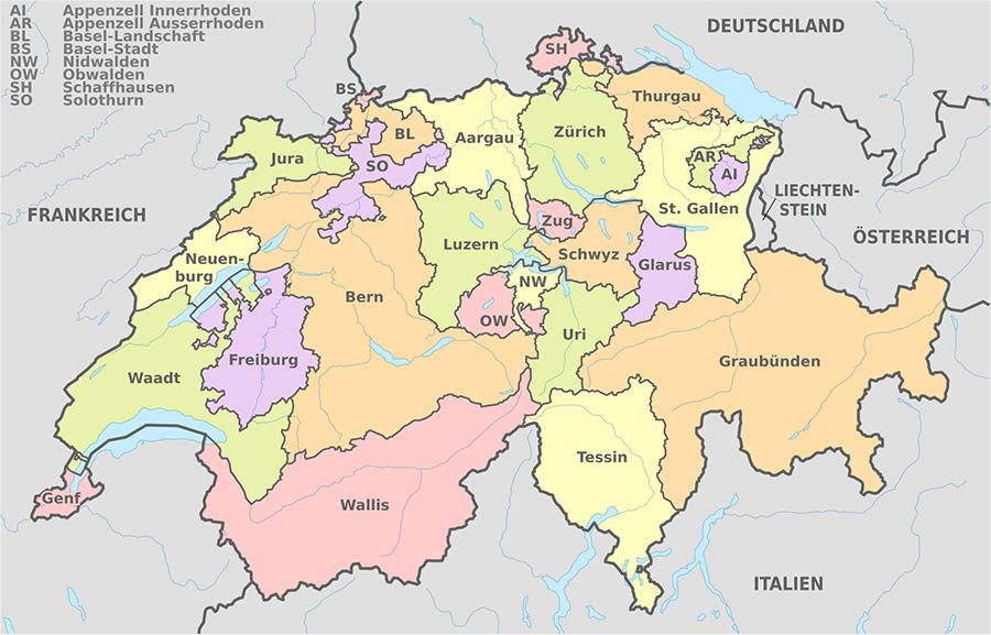 Karte der politischen Gliederung der Schweiz | Urheber: TUBS via Wikimedia Commons | Lizenz: CC BY-SA 3.0