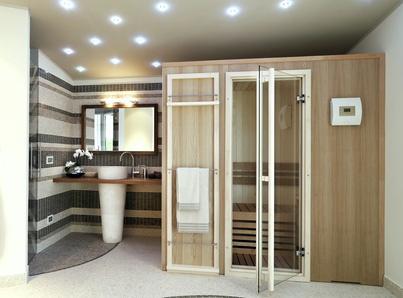 Beispiel einer perfekt integrierten und platzsparenden Heimsauna