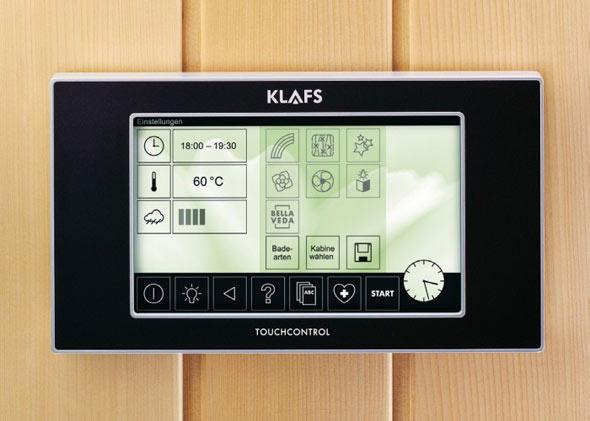 Komfortable Saunasteuerung wird u.a. vom Hersteller Klafs angeboten.